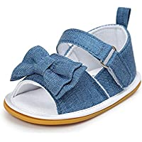 Meckior Baby Girls Premium Soft Rubber Sole Anti-Slip Summer Shoes Infant Baby Prewalker Toddler Sandals. (13cm(12-18months), H-Blue)