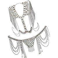 Prettyia Crystal Body Chain Set for Women Waist Vest Harness Shoulder Jewelry Kit for Party Bikini Beach Party Decor