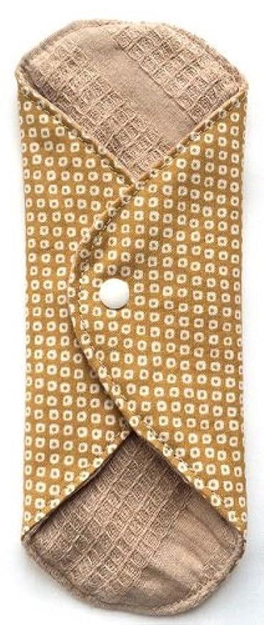 中央広いチェリー華布 オーガニックコットンのあたため布 Mサイズ(約15×約15cm) 鹿の子柄(辛子)