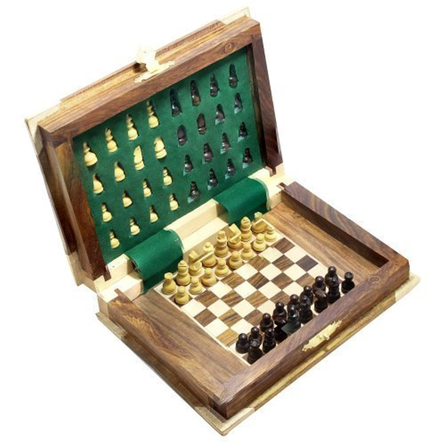 Book Shape Small Board Game Chess and Pieces, Set Wooden Game 7 x 5 Inches [並行輸入品]