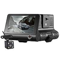 ドライブレコーダー 4インチ 3カメラ搭載 車内外同時録画 Gセンサー搭載 1080P フルHD 170度広角フロントカメラ 防水リアカメラ 角度調整可能 緊急録画 ループ録画 駐車監視 動体検知