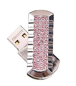 FEBNISCTE クリスタル 16GB ピンク 折りたたみ式 USBフラッシュドライブ