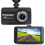 FOSONN S3 ハイビジョン ドライブレコーダー 1200万画素 1080P 3.0インチ 170°広角 常時録画 エンジン連動 Gセンサー WDR 動体検知 駐車監視 暗視機能搭載 日本語説明書付き