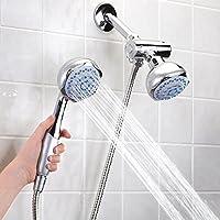 Anself お風呂シャワー スプレーセット2 in 1デュアルヘッド 浴室の壁に取り付け スプレーセット ハンドヘルドシャワーヘッド&固定シャワーヘッド 浴室のシャワー備品