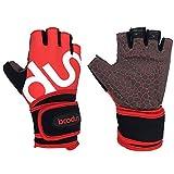 Unigear 筋トレ ウェイトリフティング グローブ トレーニング ジム リストフラップ付き 手首保護 滑り止め 通気 3カラー 3サイズ (赤, M)