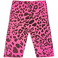 Kids Girls Cycling Shorts Leopard Print Neon Pink Summer Short Knee Length Pants
