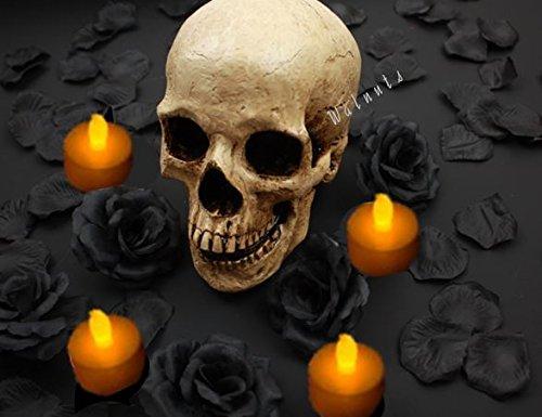 【ELEEJE】 ドクロ スカル 闇パーティ に 黒い バラ と バラの花び...