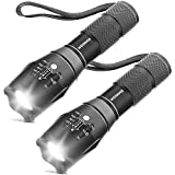 [2 Packs] LED Torches, OUYOOOO High Lumens XML T6 Flashlights with Adjustable Focus and 5 Light Modes, Water Resistant Torch