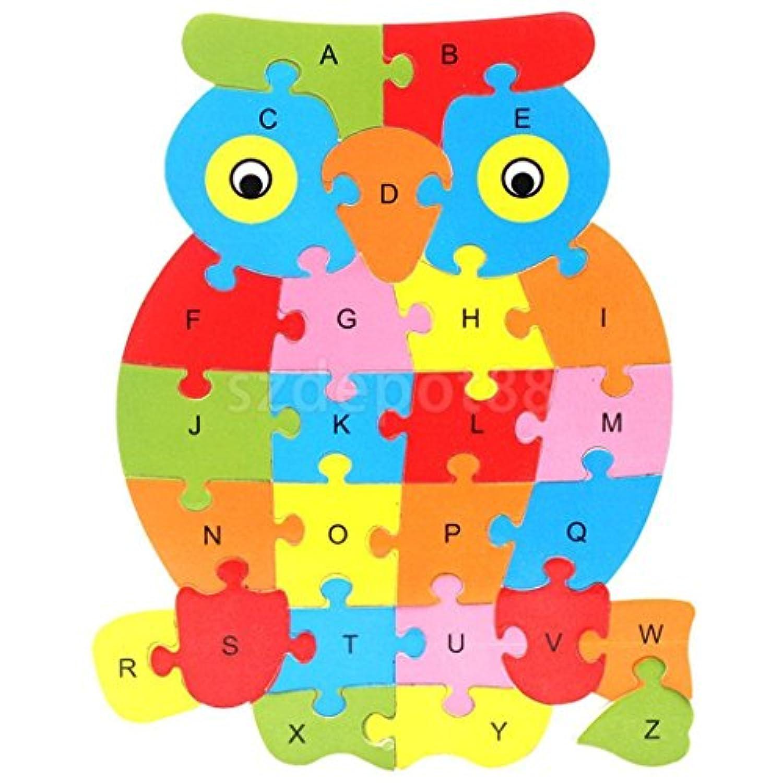 フクロウ動物木製パズルアルファベット文字ブロックPreschool子供Learing Toy