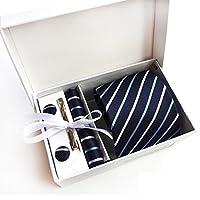 ネクタイ ビジネス用 ピン カフスボタン チーフ BOX付き 洗える 5点セット 就活 スーツ スーツ着用