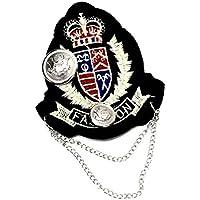 バッジ ワッペン風 刺繍 王冠 シルバー チェーン付きd7 エンブレム WP-208