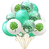 Wholehot 12インチ 風船 誕生日 飾り付け バルーン 紙吹雪バルーン 亀殻葉緑ラテックスバルーン セット 結婚式 プロポーズ 記念日 ハワイ風パーティー飾りバルーン 幸せな雰囲気 パーティー用品 (15個入り 亀殻葉緑シリーズ)