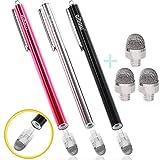 aibow タッチペン スマートフォン タブレット スタイラスペン iPad iPhone Android 3本+ペン先3個 8mm (レッド+ブラック+シルバー)