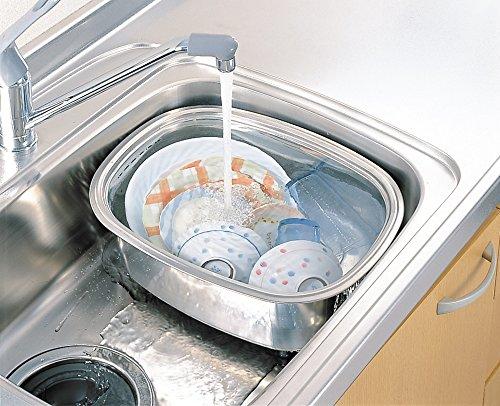 洗い桶 耐久性は抜群 ステンレス製 6.7L 日本製 ゴム脚付 2.3cmの高いゴム脚で桶の底のゴミが流れやすく清潔 オリジナルメモセット