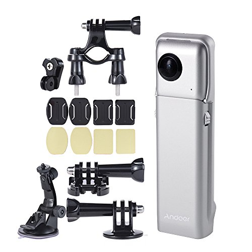 Insta360 Nano VR 360° パノラマ ミニ 3K HD デュアル 210°広角魚眼レンズ VRヘッドセット メガネ +Andoer Insta360 Nano専用アクセサリー付き 支持ライブ360 ライブストリーム放送 美顔 iPhone 7 7 Plus 6s 6s Plus 6 スマートフォン用 パノラマ ビデオカメラ