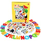 Magnetic Objects And Letters by Curious Columbus. Set of 52 Foam Picture Magnets, Plus 26 Uppercase Alphabet Magnets From A-Z. Best Educational Toy for Preschool Learning