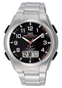 [シチズン キューアンドキュー]CITIZEN Q&Q 電波ソーラー腕時計 SOLARMATE (ソーラーメイト) アナログ表示 クロノグラフ機能付き 10気圧防水 ブレスレットバンド ブラック MD02-205 メンズ