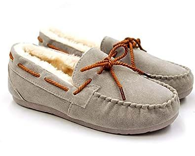 モカシン モカシン レディース モカシンシューズ 靴 フェイク ムートンシューズ (GRAY/22.5)