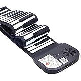 Weihuiwangluo ハンドロールポータブルプロフェッショナルバージョン大人子供向けエントリーキーボード88キー (Color : ブラック)