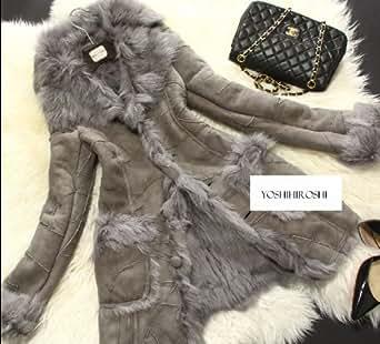 イタリアウール羊毛使用ムートンダッフルコート ロングコート ジャケット ファー far コート レディース カジュアル ラム ムートン 毛皮 大きいサイズあり (M, グレー)