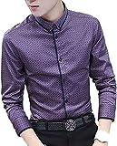 (ビューメンス) メンズ シャツ 服 ボタンダウン 大きい サイズ ドライ ビジネス 薄手 無地 長袖 半袖 七分袖 ゆったり メンズシャツ 紫 303 M