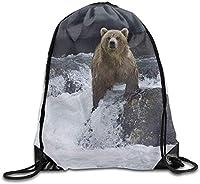 クマの巾着バックパックリュックサックショルダーバッグトレーニングジム袋男女用