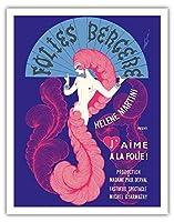 フォーリー・ベルジェール (キャバレーミュージックホール) - パリ、フランス - エレーヌマティーニは提示:「私は愛に狂っています!」 - ビンテージな劇場のポスター によって作成された エルトゥ, (ロメイン・デ・トルトフ) c.1974 - アートポスター - 28cm x 36cm