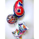 誕生日祝 祝電 バルーンギフト 「数字のバルーン付 戦隊ヒーローお誕生日祝バルーン」