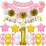 1歳誕生日飾り付け 数字1 ピンク スター 風船 happy birthdayバナー ガーランド ペーパーフラワーボール バルーン フォトプロップス 最初の誕生日 装飾 子供 47枚セット