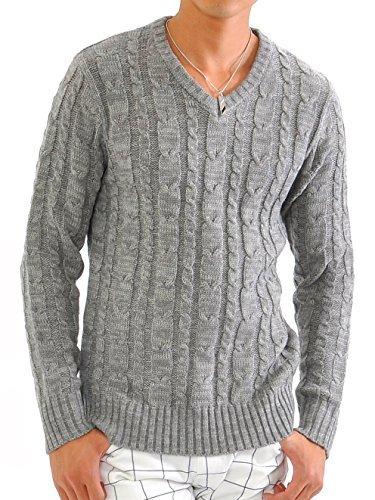 ニット メンズ カットソー セーター カシミアタッチ Vネック ニットソー 薄手 ニットセーター【q146】 スペード