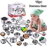 Basde おもちゃポットとフライパン ステンレススチール 鍋とフライパン ごっこ遊び キッチンアクセサリー 調理器具 ポットパン 16個セット