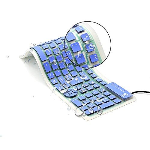 CHINFAI 巻き上げるキーボード シリコン製 英語配列 108キー テンキー付き 外付け可 有線 静音 便利にお持ち運び 各PC システムにご対応 (青)
