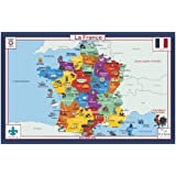 Tot Talk France Geography Educational Placemat for Kids Washable and Long-Lasting