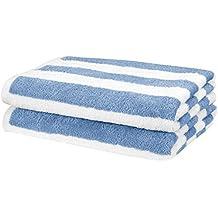AmazonBasics Beach Towel - Cabana Stripe, Blue, Pack of 2