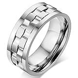 JewelryWe 大人気 メンズ 指輪,リング; 回転可能;ステンレス,シルバー [27号]