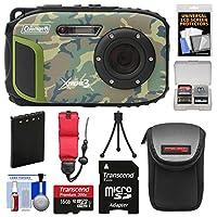 Coleman xtreme3C9wp衝撃&防水1080p HDデジタルカメラ(Camo) with 16GBカード+バッテリー+ケース+三脚+フロートストラップ+キット