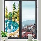 装飾プライバシーウィンドウフィルム 家の装飾 ホーム寝室 キッチンオフィス トロピカルビーチの風景 ホテルの部屋 休暇 旅行 24''x70'' TB_04_11_Q0404_036609