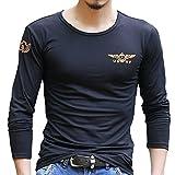 (ガン フリーク) GUN FREAK ミリタリー 長袖Tシャツ ロンT USNV プリント サバゲー メンズ トップス ( ブラック , M )