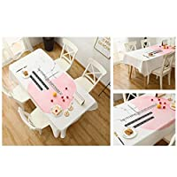 Gcxzb 長方形テーブルカバー テーブルクロス コットンリネン 洗濯可田園風飾り布 ティーテーブル/台所 (Color : B-White, Size : 140*140cm)