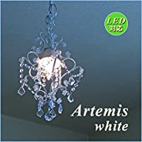 シャンデリア 1灯プチシャンデリア ミニシャンデリア ホワイト LED対応 アンティーク風 おしゃれ 可愛い 姫系 Artemis