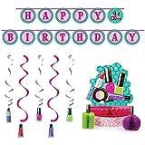 Sparkle Spa Party Supplies Decorations Bundle: Centerpiece Ribbon Banner and Dizzy Danglers [並行輸入品]