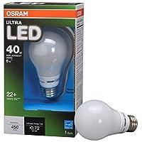 Osramライト電球a19、40W交換用6Wを使用してます。450明るさ