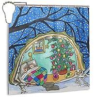 """クリスマスマウスボールかわいいアートスノーフレークシャワーカーテンセット72"""" カーテン7〜12のフック3DプリントのバスルームのカーテンホームデコラファブリックマシンウォッシャブルプライバシーX 72"""" と"""
