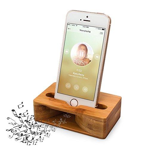 (更新版)木製スピーカー ARCHEER iPhoneスタンド・携帯スマホス...