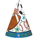 (Sports) - Amscan Superstar Ball Sports Birthday Cone Party Hats, Multicoloured, 16cm
