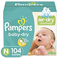 Pampers Baby Dry Diapers, Size N, Super Pack, 104 Count by Pampers