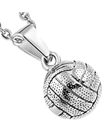 Stainless Steel Silver-Tone Volleyball Sports Pendant Necklace