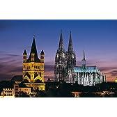 World Scene 1000ピース 夕闇のケルン大聖堂 (ドイツ)【光るパズル】 (50cm×75cm、対応パネルNo.10)