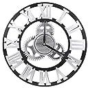 MEISTAR 掛け時計 連続秒針 静音 ギア 直径34cm 壁掛け時計 木製 レトロ 歯車 掛時計 インテリア時計 おしゃれ ギフト ローマ数字 銀