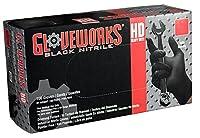 Ammex–GWbn–ニトリル手袋–Gloveworks–100/ボックス、頑丈、使い捨て、パウダーフリー、産業、6ミリ、ブラック Large (Case of 1000) GWBN46100 1000